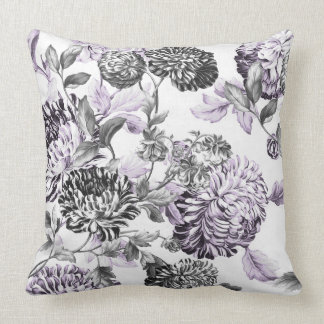 Mulberry Blue Purple Black & White Floral Toile Cushion