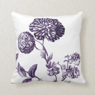 Mulberry Blue Purple Botanical Floral Toile No.2 Cushion