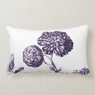 Mulberry Blue Purple Botanical Floral Toile No.2 Lumbar Cushion