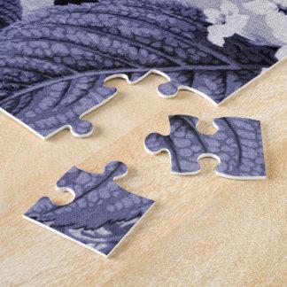 Mulberry Blue Purple Floral Toile No.1 Jigsaw Puzzle