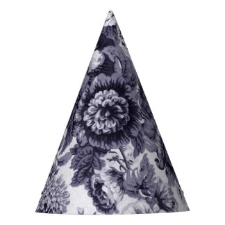 Mulberry Blue Purple Floral Toile No.3 Party Hat
