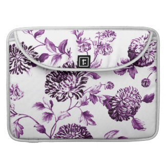 Mulberry Blue Purple Vintage Floral Toile No.2 Sleeve For MacBook Pro