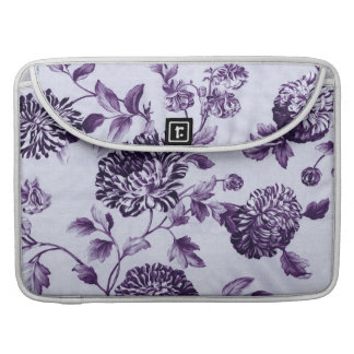 Mulberry Blue Purple Vintage Floral Toile No.2 Sleeve For MacBooks