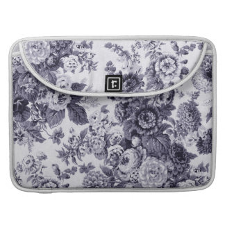 Mulberry Blue Purple Vintage Floral Toile No.3 Sleeve For MacBook Pro