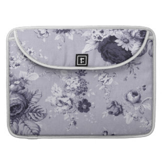 Mulberry Blue Purple Vintage Floral Toile No.4 Sleeve For MacBooks