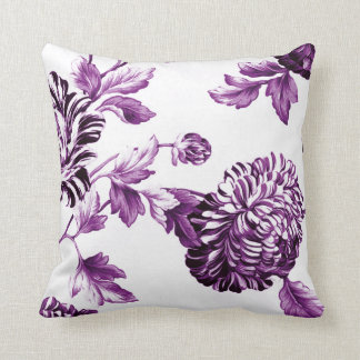 Mulberry Blue Purple & White Floral Toile No.2 Cushion