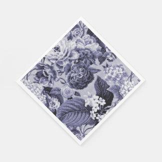 Mulberry Blue Vintage Floral Toile Fabric No.1 Disposable Serviette
