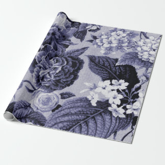 Mulberry Blue Vintage Floral Toile Fabric No.1 Wrapping Paper