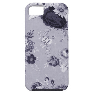 Mulberry Blue Vintage Floral Toile Fabric No.5 iPhone 5 Covers