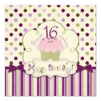 Mulberry Dot Cupcake Sixteenth Birthday 13 Cm X 13 Cm Square Invitation Card