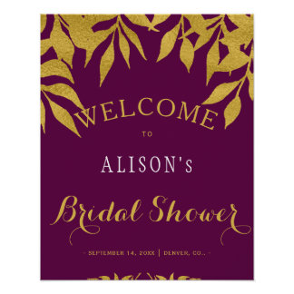 Mulberry fall leaves bridal shower welcome sign
