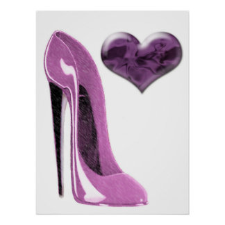 Mulberry Pink Stiletto Shoe and Heart Poster