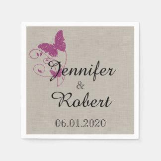 Mulberry Purple Butterfly Wedding Napkin Disposable Serviette