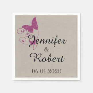 Mulberry Purple Butterfly Wedding Napkin Paper Napkin