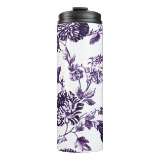 Mulberry Purple Modern Botanical Floral Toile Thermal Tumbler