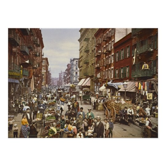 Mulberry Street Market New York City 1900 Poster