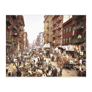 Mulberry Street NYC c. 1900 Color Stretched Canvas Canvas Print