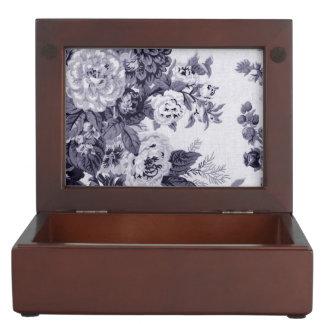Mulberry Tone Black & White Vintage Floral Toile 4 Keepsake Box