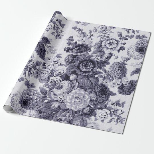 Mulberry Tone Black & White Vintage Floral Toile