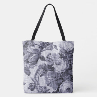 Mulberry Vintage Botanical Floral Toile Fabric Tote Bag