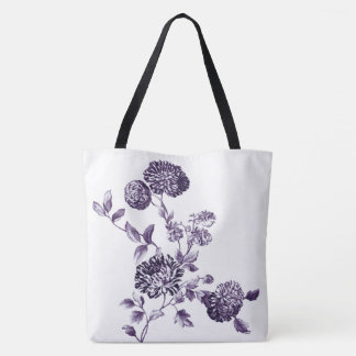 Mulberry & White Modern Botanical Floral Toile Tote Bag