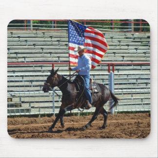 mule carrying american flag mousepads