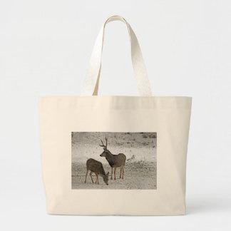 Mule deer buck and doe canvas bags
