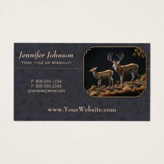 Mule Deer Buck and Doe Gray Custom Business Card