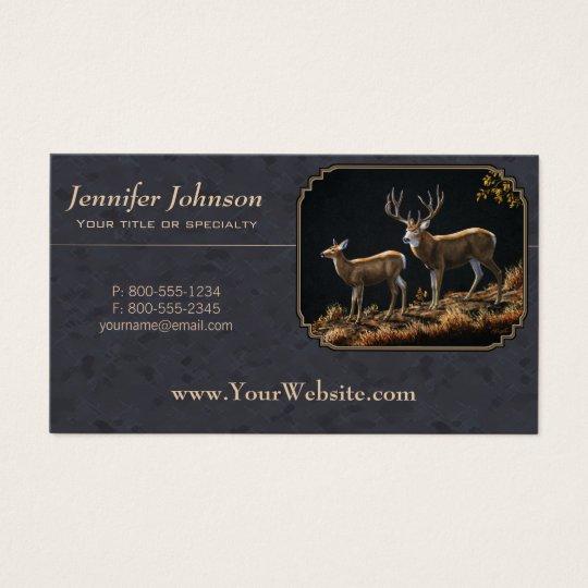 Mule Deer Buck and Doe Grey Custom Business Card