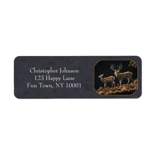 Mule Deer Buck and Doe Grey Custom Return Address Label