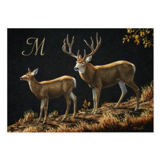 Mule Deer Buck and Doe Monogram Large Business Cards (Pack Of 100)