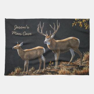 Mule Deer Buck & Doe Tea Towel