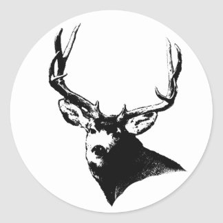 Mule deer buck round sticker