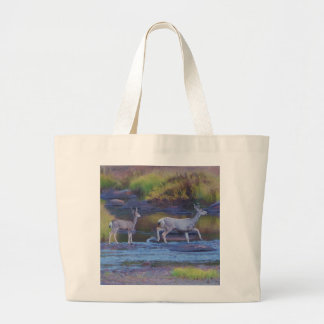 Mule Deer Doe and Fawn Large Tote Bag