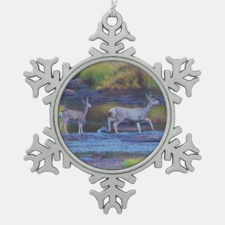 Mule Deer Doe and Fawn Snowflake Pewter Christmas Ornament