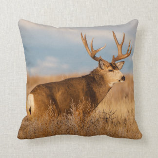 Mule Deer in Winter Grassland Cushion