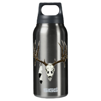 Mule deer skull eagle feather insulated water bottle