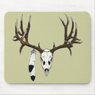 Mule deer skull eagle feather mouse pad