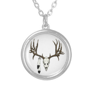 Mule deer skull eagle feather silver plated necklace
