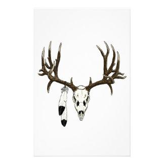 Mule deer skull eagle feather stationery design