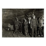 MULE DRIVERS in COAL MINE  1908 Poster