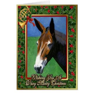 Mule Horse Blank Christmas Card