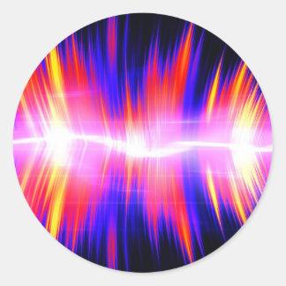 Mullticolored Abstract Audio Waveform Round Sticker