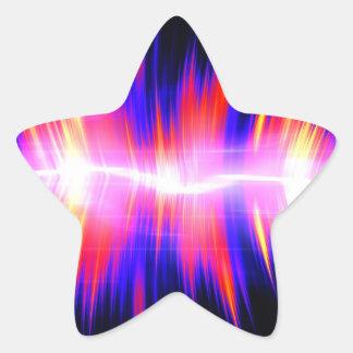 Mullticolored Abstract Audio Waveform Star Sticker