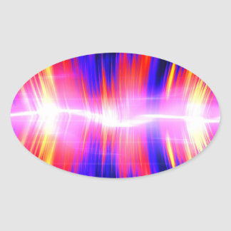 Mullticolored Abstract Audio Waveform Oval Sticker