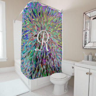 Multi  Abstract Shower Curtain with White Monogram