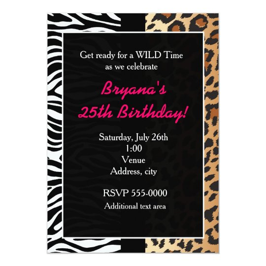 Multi Animal Print Cheetah Leopard Zebra Invite