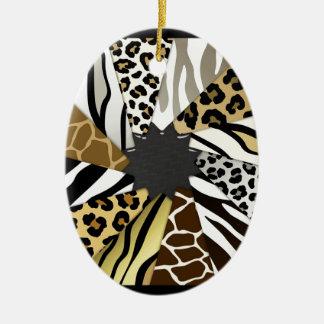 Multi Animal Prints Zebra Tiger Add Text Initial Christmas Ornament