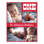 Multi Annual Red One Birthday Frame Personalised Announcement