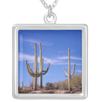 Multi armed Giant Saguaro cactus, Saguaro Silver Plated Necklace